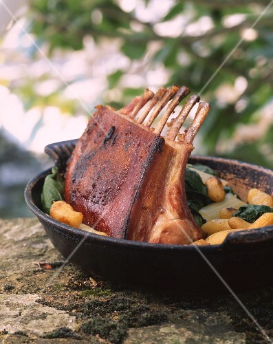 Rack of Lamb Dinner with Potatoes and Spinach