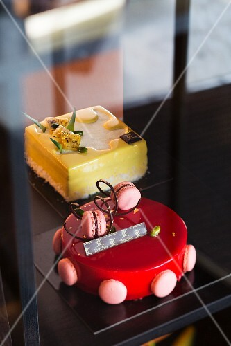 Cakes from the Patisserie 'Zurcher' in Montreux, Lake Geneva, Switzerland