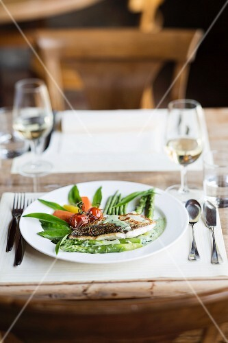 Fish fillet with asparagus from 'Café du Chaterland' in Corsier, Lake Geneva, Switzerland