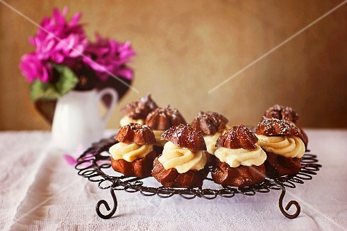 Chocolate beignets on a wire rack