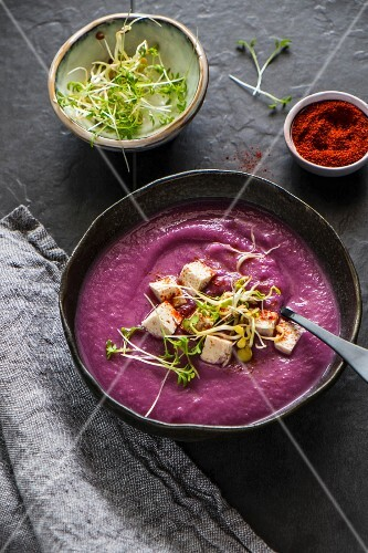 Roasted purple cauliflower cream with tofu