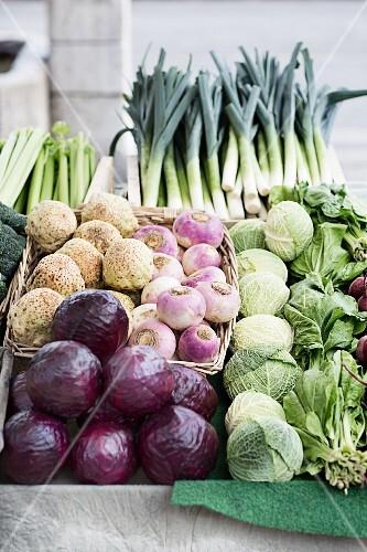 Fresh vegetables at a weekly market, Yverdon-les-Bains on Lake Neuchâtel, Switzerland