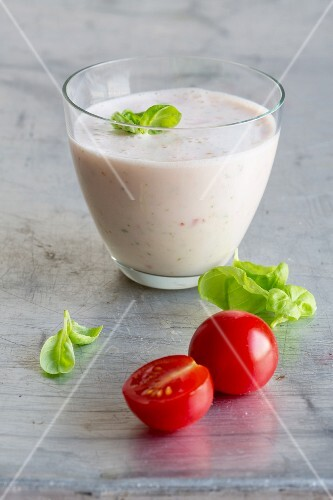 Buttermilk and tomato shake with fresh basil