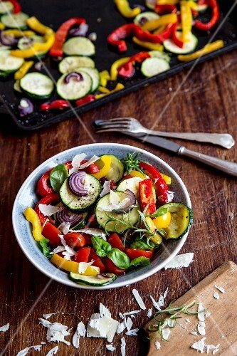 Ratatouille salad with herbs and Parmesan cheese
