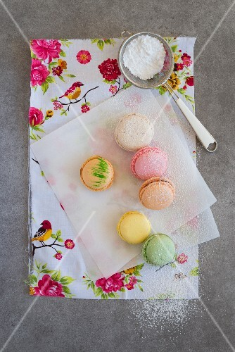 Various macaroons on a piece of paper with icing sugar