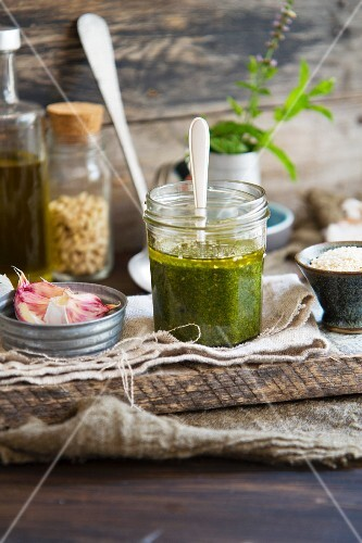 Mint pesto with ingredients