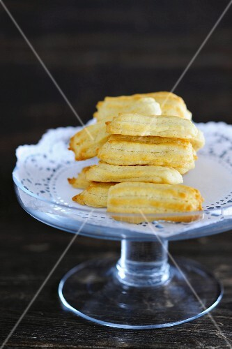 Choux pastry biscuits on a doily