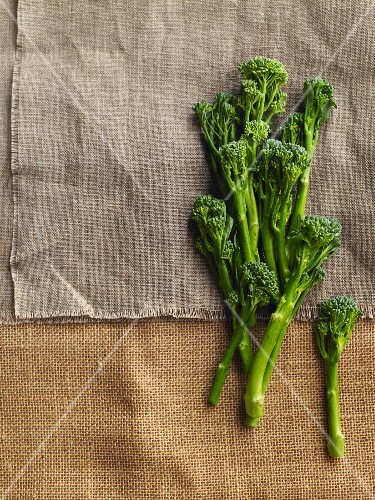 Broccoli on a piece of linen