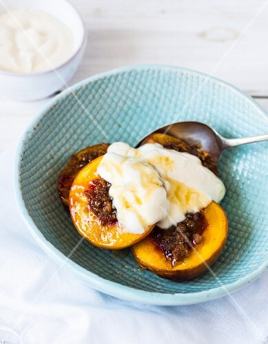 Nectarines roasted in honey with vanilla yoghurt