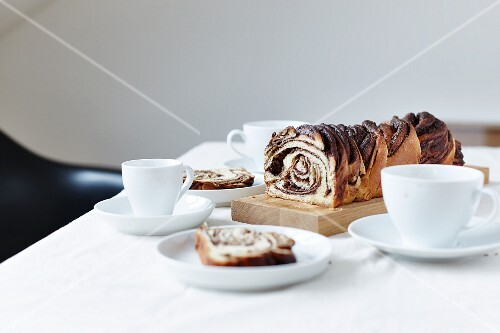 Babka with a chocolate filling