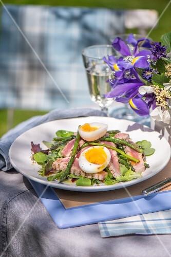 Asparagus salad with tuna fish and egg