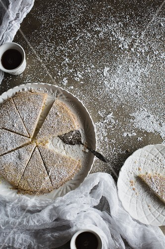Scottish shortbread dusted with icing sugar