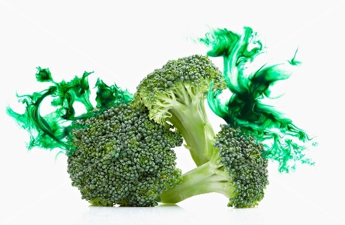 Broccoli stems with a green colour effect