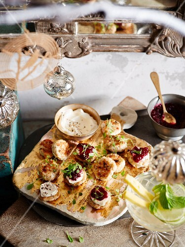 Chicken meatballs with herbs and cranberry relish