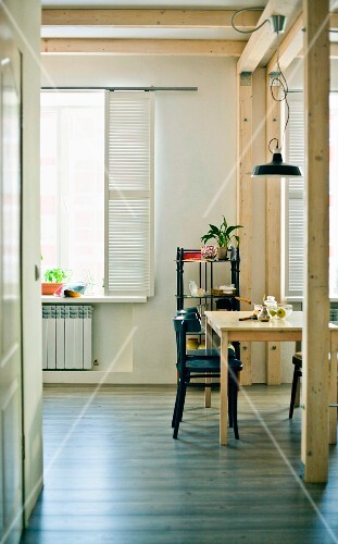 A view into a simple dining room