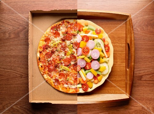 Half a pizza and half a plate of vegetables (photo collage)