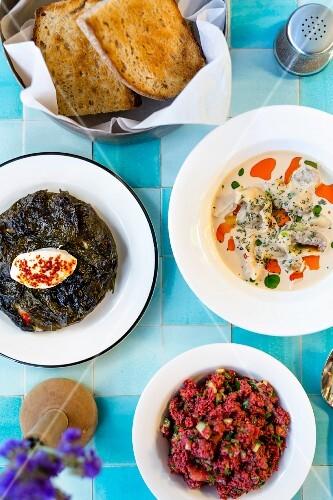 Restaurant Yeni Lokanta: dried aubergine ravioli and bulgur with sour cherry juice, Istanbul, Turkey