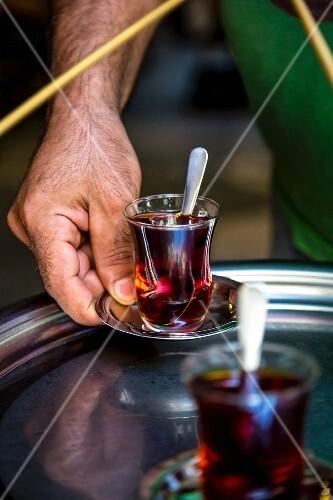 Tea being served, Istanbul, Turkey