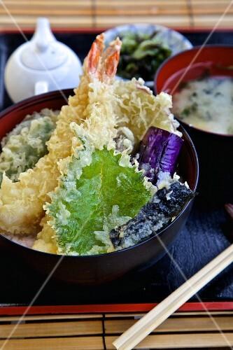 Tempura with miso soup (Japan)