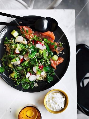Gurken-Quinoa-Salat mit Lachsforelle und Joghurt