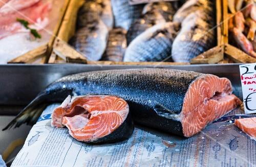 Fresh salmon at a fish market