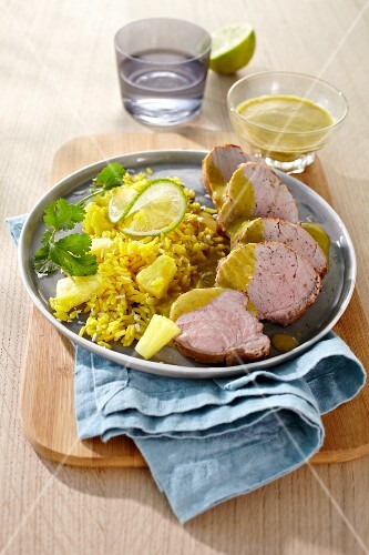Pork fillet with pineapple rice