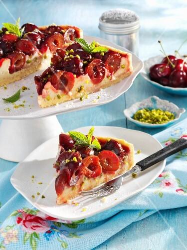Cherry cake with coconut cream