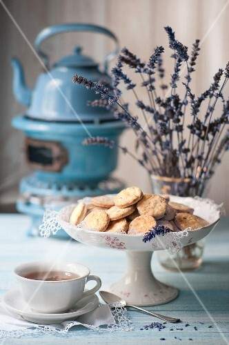 Biscuits, tea and lavender flowers