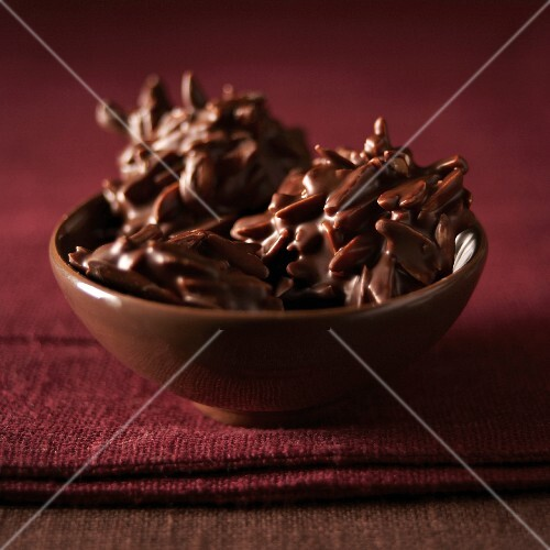 Slivered almonds covered in chocolate