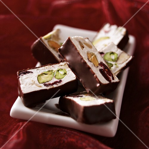 Montelimar nougat pralines with chocolate glaze