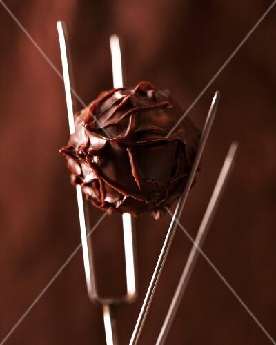 A truffle praline on a praline fork