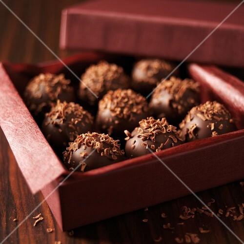 Milk chocolate truffles in a praline box