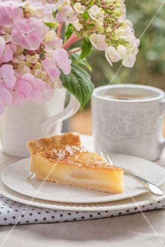 A slice of cheesecake on a garden table
