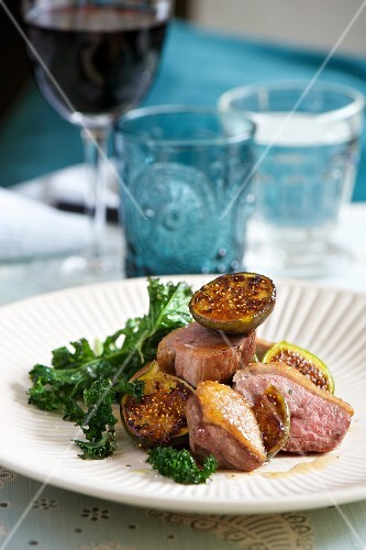 Duck breast with figs and kale