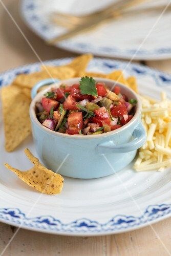 Quick salsa with tortilla chips and cheese
