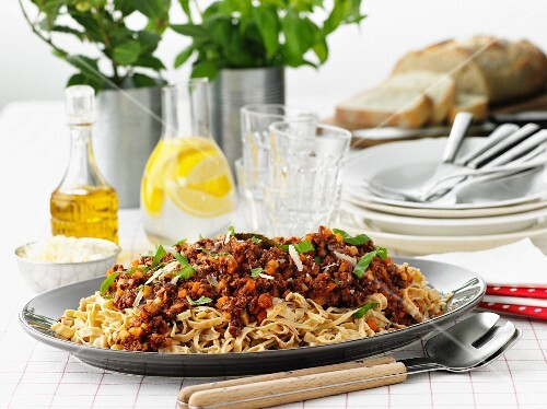 Pasta bolognese with Parmesan cheese