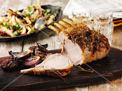 Rack of pork with rosemary and grilled onions