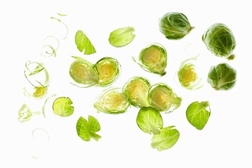 Brussels sprouts, whole, halved and split into individual leaves