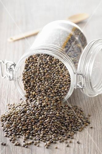 Lentils in an overturned jar