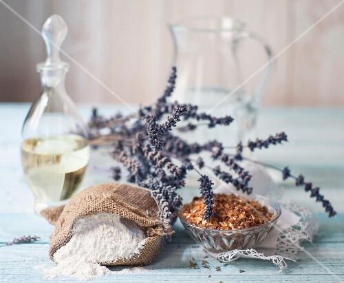 Lavender flowers, oil, flour and sugar