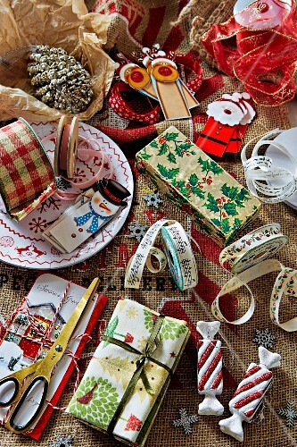 Festive ribbons, gift tags and wrapping materials