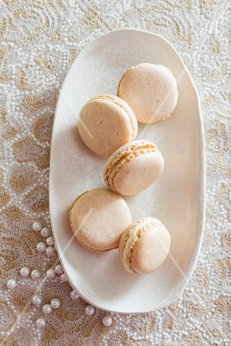 White macaroons with beads
