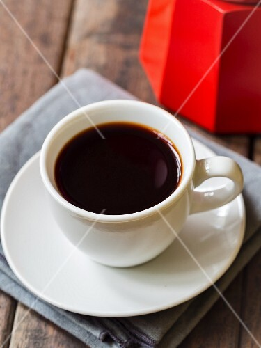 Red rooibos espresso in a white cup