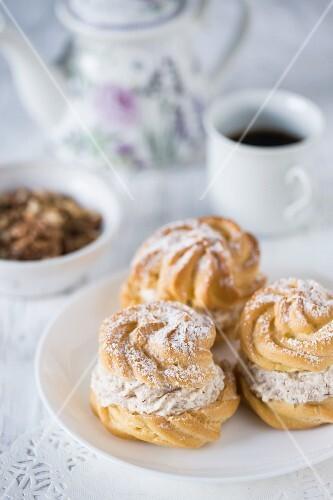 Profiteroles with walnut cream