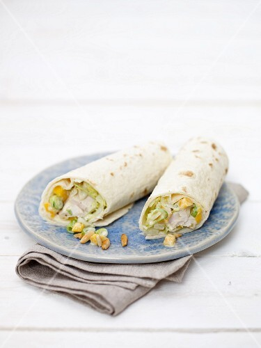 Chicken and mango salad wraps