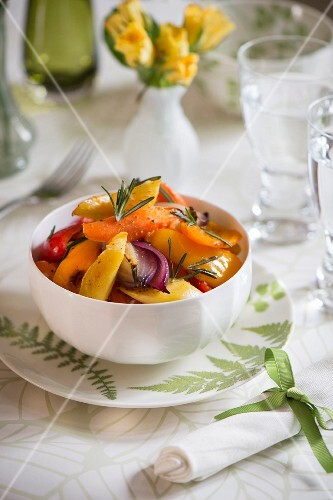 Warm pepper salad