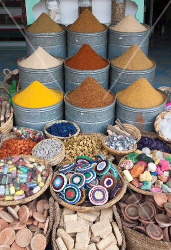Spices and crafts for sale at a market