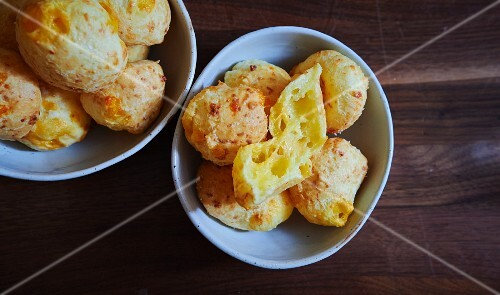 Savoury cheese profiteroles with Gruyere (seen from above)