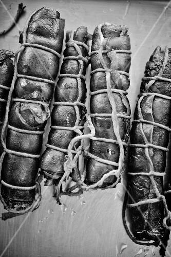 Bundles of smoked sausages