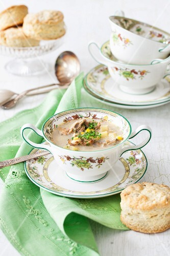 Sweetcorn soup with oysters served with garlic and rosemary biscuits